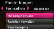 Entertain HD-Kanäle ein/aus