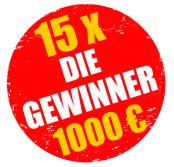15 x 1000 € - unsere Gewinner stehen fest!