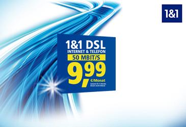 1&1 Sommer-Special: DSL Basic 50 für 9,99 €