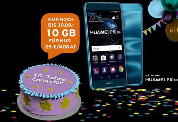 Verlängert! congstar Geburtstagsspecial mit 10 GB Datenvolumen