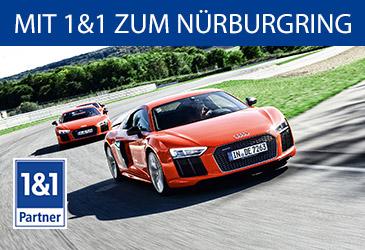 1&1 schickt Sie im Audi R8 Coupé V10 Plus zum Nürburgring