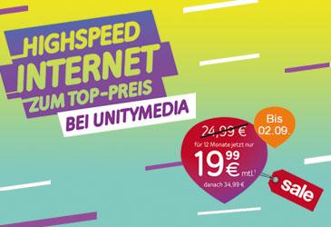 Unitymedia Highspeed Internet für nur 19,99 €
