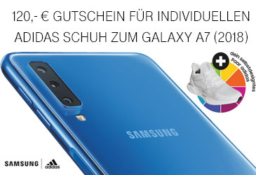 Samsung Galaxy A7 (2018) bestellen und 120,- € Gutschein für individuelle adidas Schuh erhalten