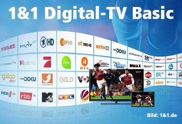 1&1 Digital-TV Basic dauerhaft kostenlos zum DSL-Tarif