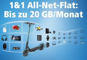 1&1 All-Net-Flats mit bis zu 20 GB Datenvolumen