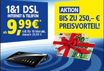 1&1 DSL mit bis zu 250 € Preisvorteil