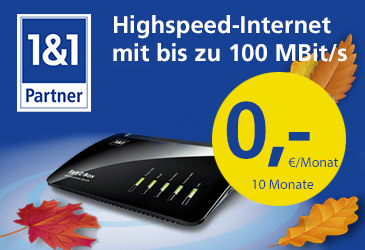 1&1 Highspeed-Internet 10 Monate gratis