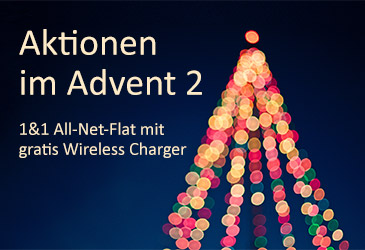 2. TK-World Adventsaktion: 1&1 All-Net-Flat mit gratis Wireless Charger