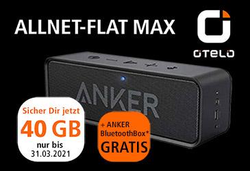 otelo Allnet Flat Max mit 40 GB für 29,99 € und gratis Bluetooth Box
