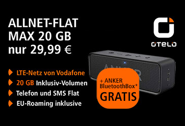 otelo: 20 GB und gratis Bluetooth Box bis Ende April
