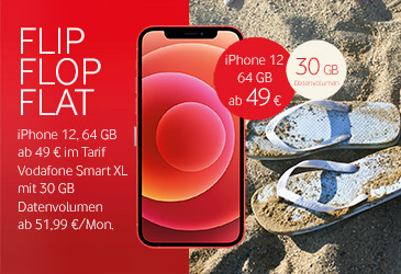 Vodafone Flip-Flop-Flat: iPhone 12 ab 49 € im Vodafone Smart XL mit 30 GB