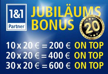 TK-World Jubiläums-Aktion für 1&1 Partner: 200 € für jeden 10. Auftrag