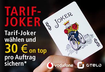 Tarif-Joker wählen und 30 € für einen Vodafone und otelo Tarif on top erhalten