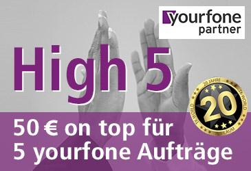 yourfone High 5: Für jeden 5. yourfone Auftrag 50 € extra